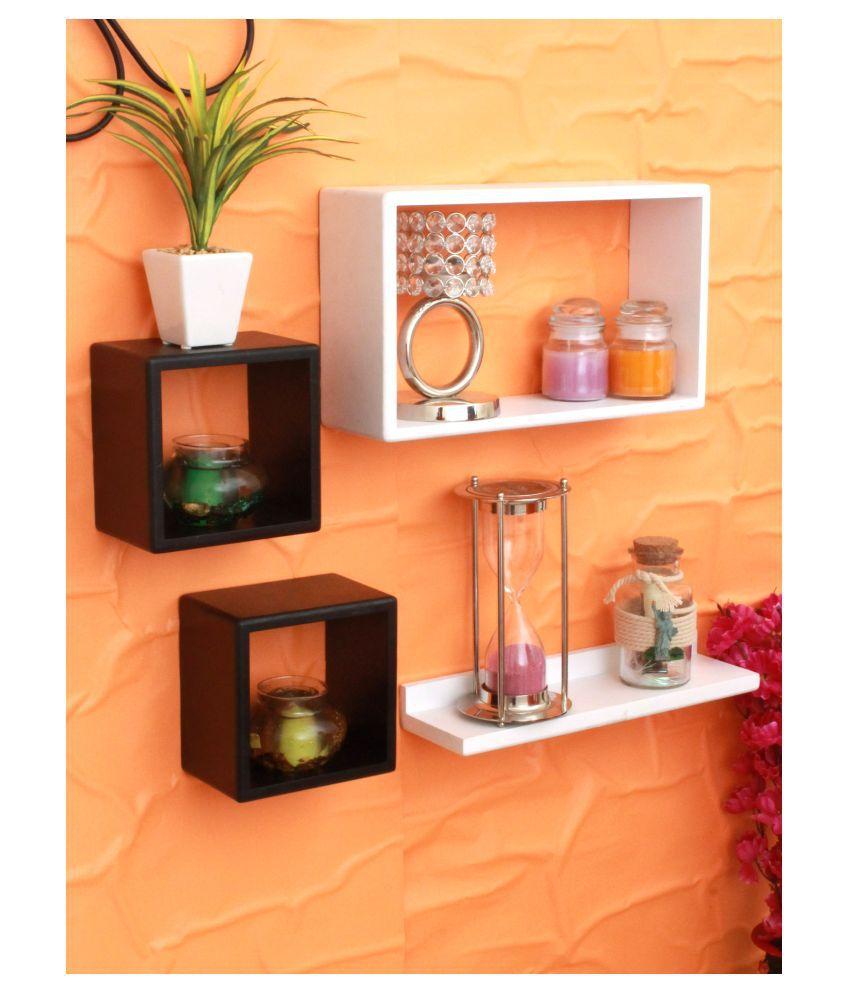 Home Sparkle Floating Shelves White MDF - Pack of 4