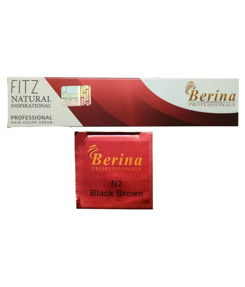 Berina Black Brown Hair color (BER-006) Permanent Hair Color Black 2 g