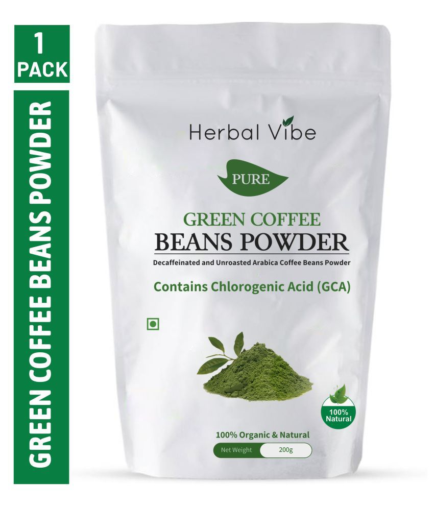 Herbal Vibe Green Coffee Beans Powder 200 GMS for Weight Loss 200 gm Unflavoured Single Pack