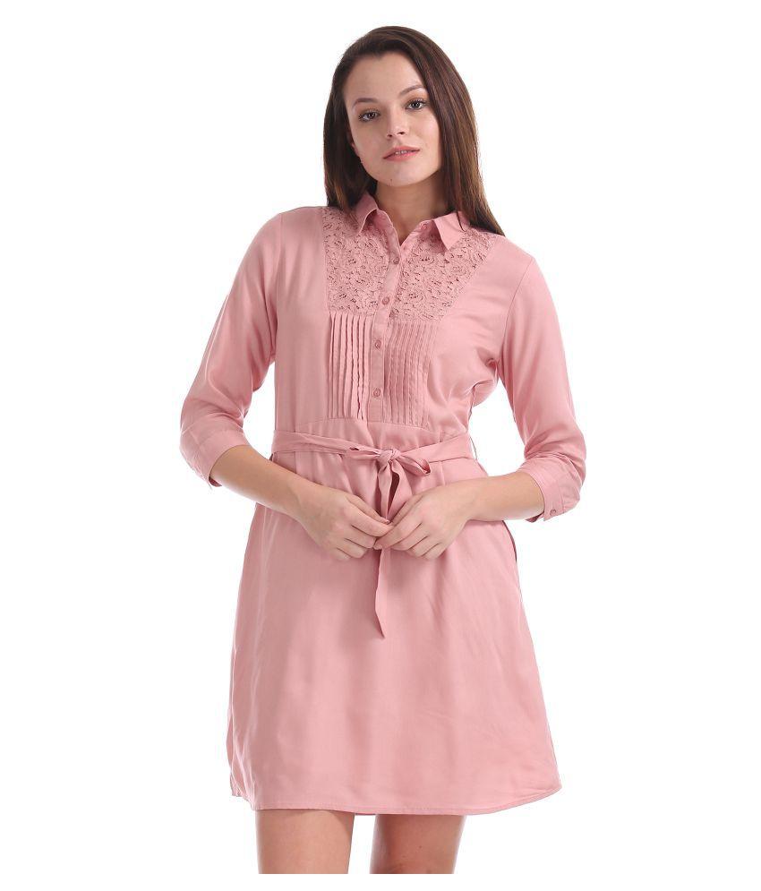 Cherokee Rayon Pink Shirt Dress