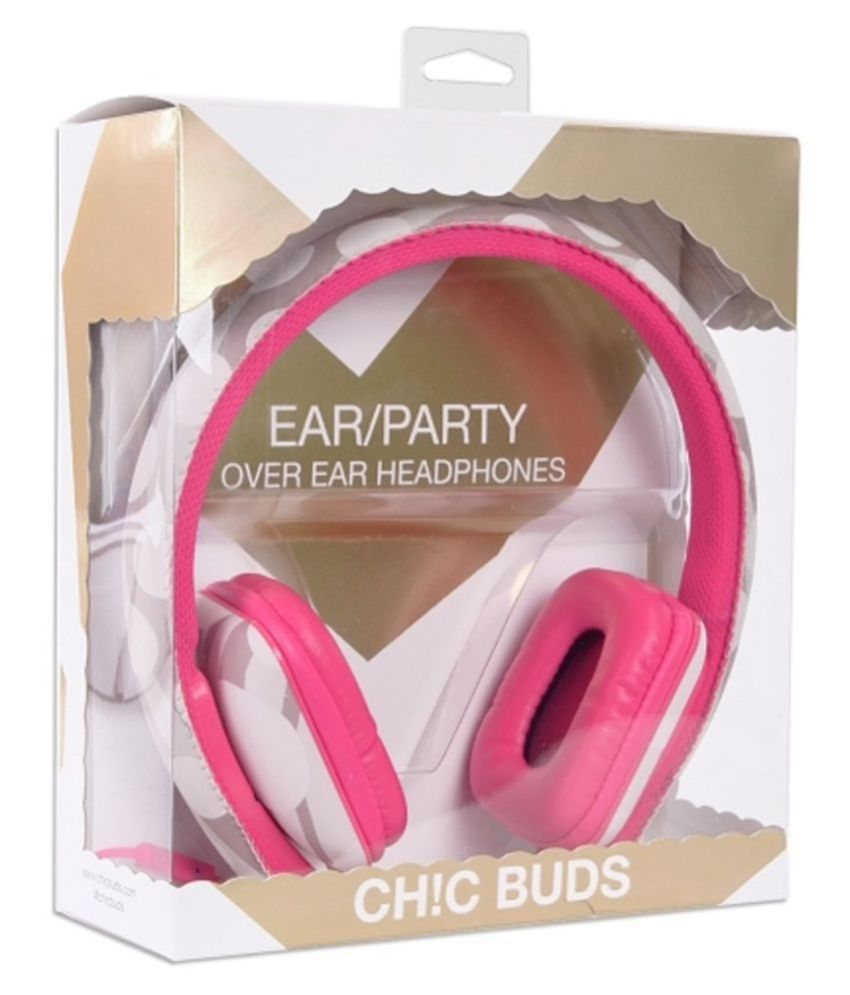 Ear Party Ch!c Buds Noise Cancelling Over-Ear Stereo Pink  Headphones w Inline Mic,Tangle-Free Flat Cable