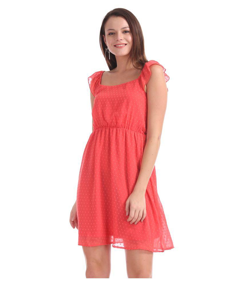 Sugr Polyester Pink Regular Dress
