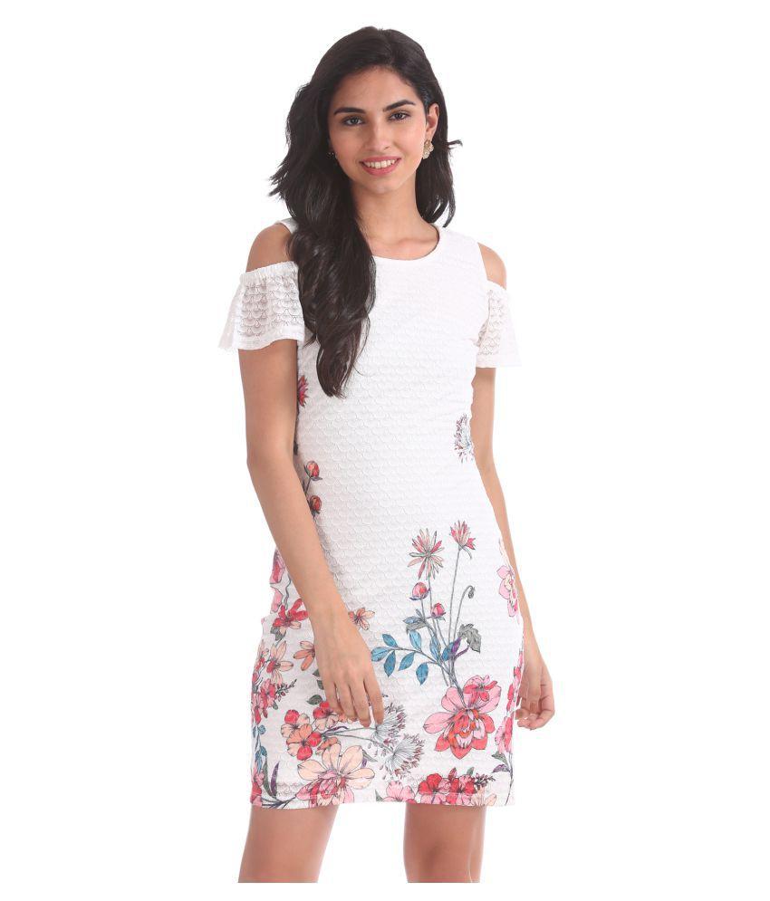 Sugr Polyester White Regular Dress