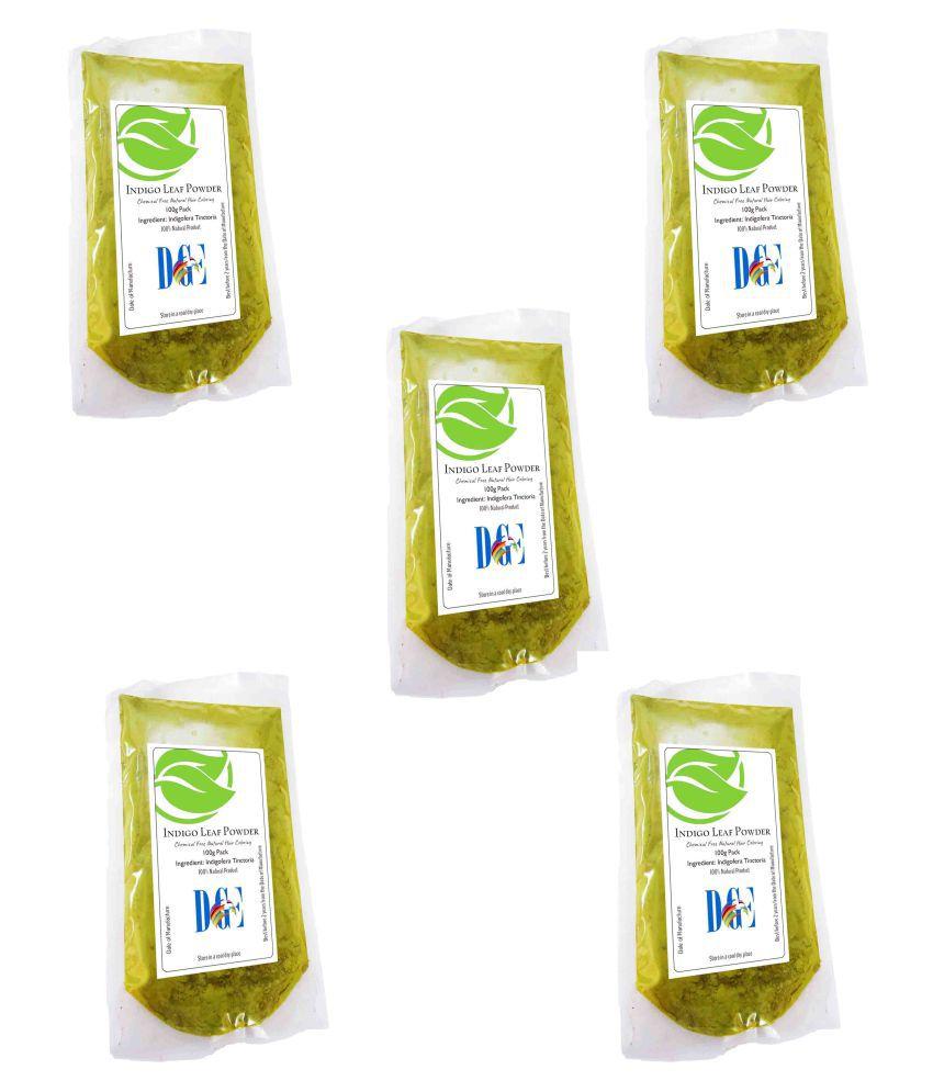 DGE Natural Indigo Leaves Powder 5 X 100g Temporary Hair Color Black 500 g Pack of 5