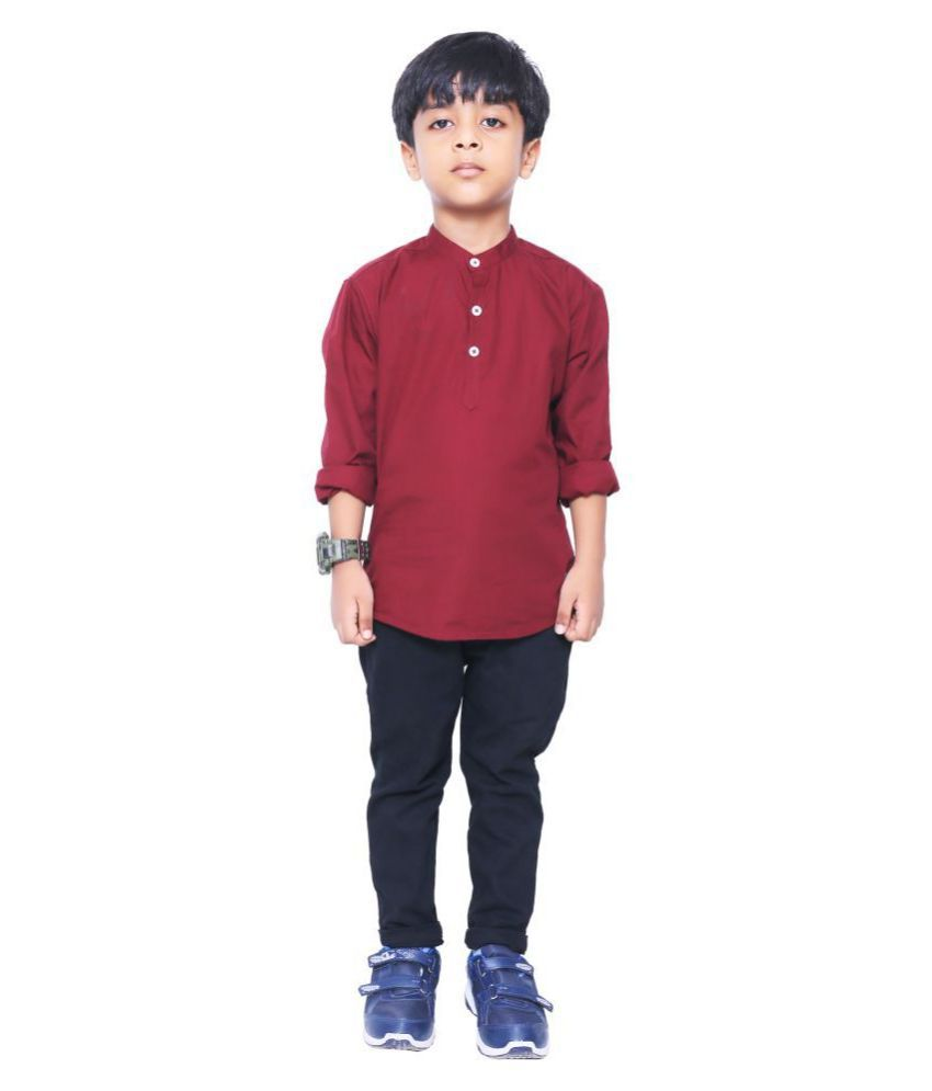 Made In The Shade Boy's Short Kurta and Adjustable Chino Trouser Set, 6-7 Years