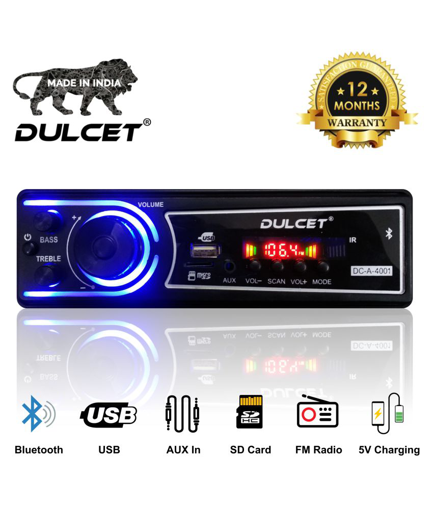 Dulcet DC-A-4001 Double IC High Power Universal Fit Mp3 Car Stereo with Bluetooth/USB/FM/AUX/MMC/Remote & Built-in Equalizer with Bass & Treble Control [Also, Includes a Free 3.5mm Aux Cable-Car Music System
