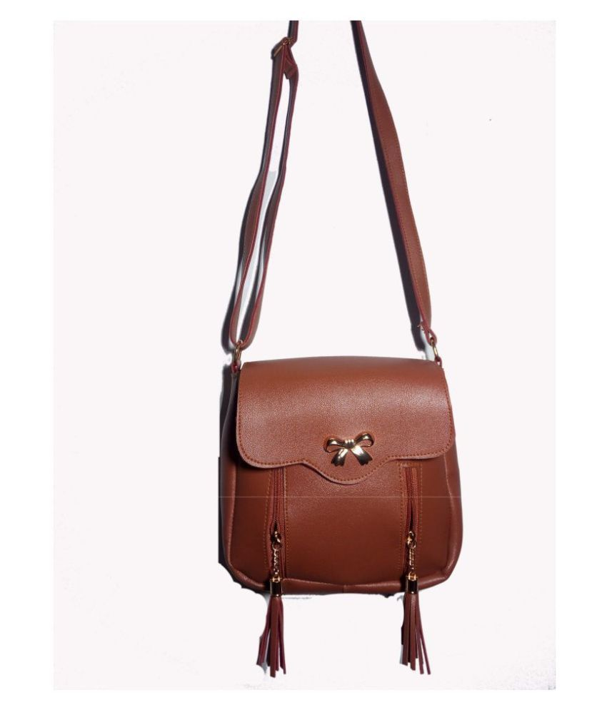 Roy variety's Brown Faux Leather Sling Bag