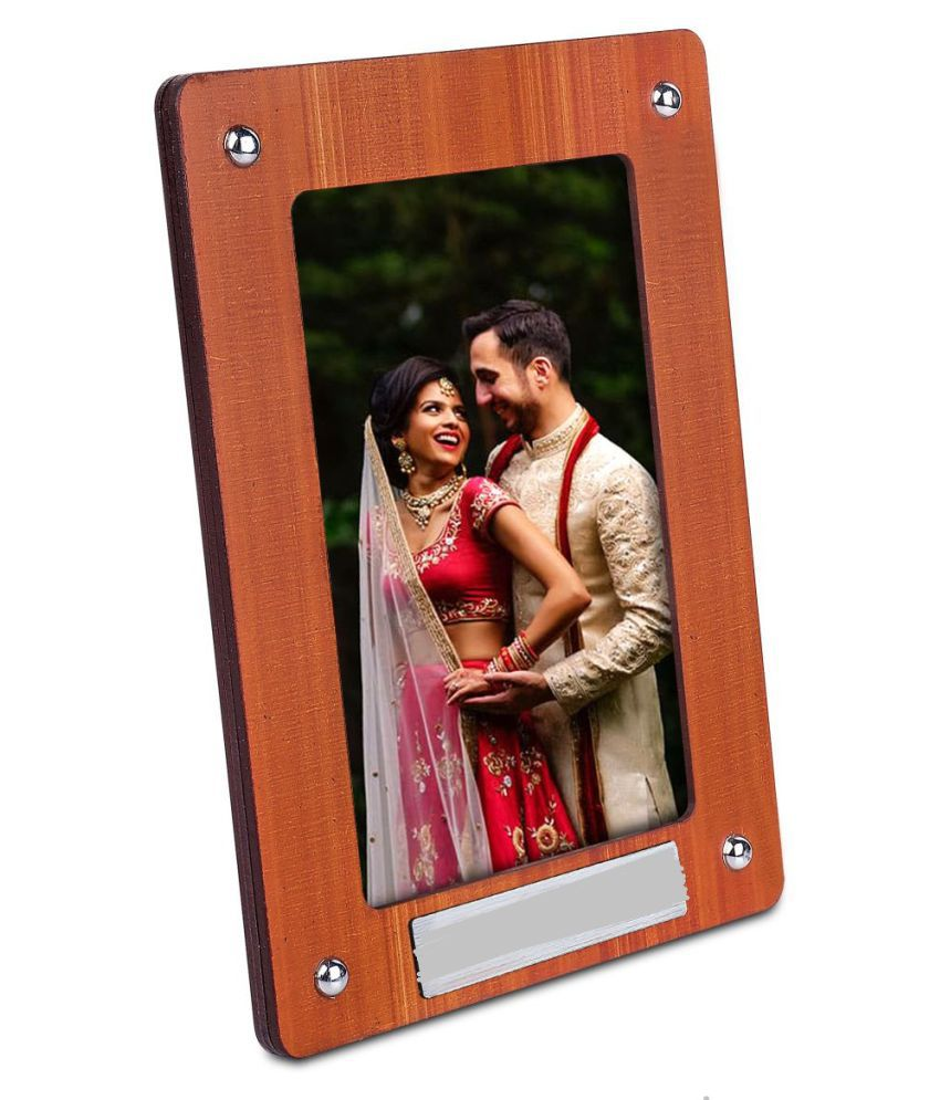 meenamart Wood Table Top & Wall hanging Brown Single Photo Frame - Pack of 1