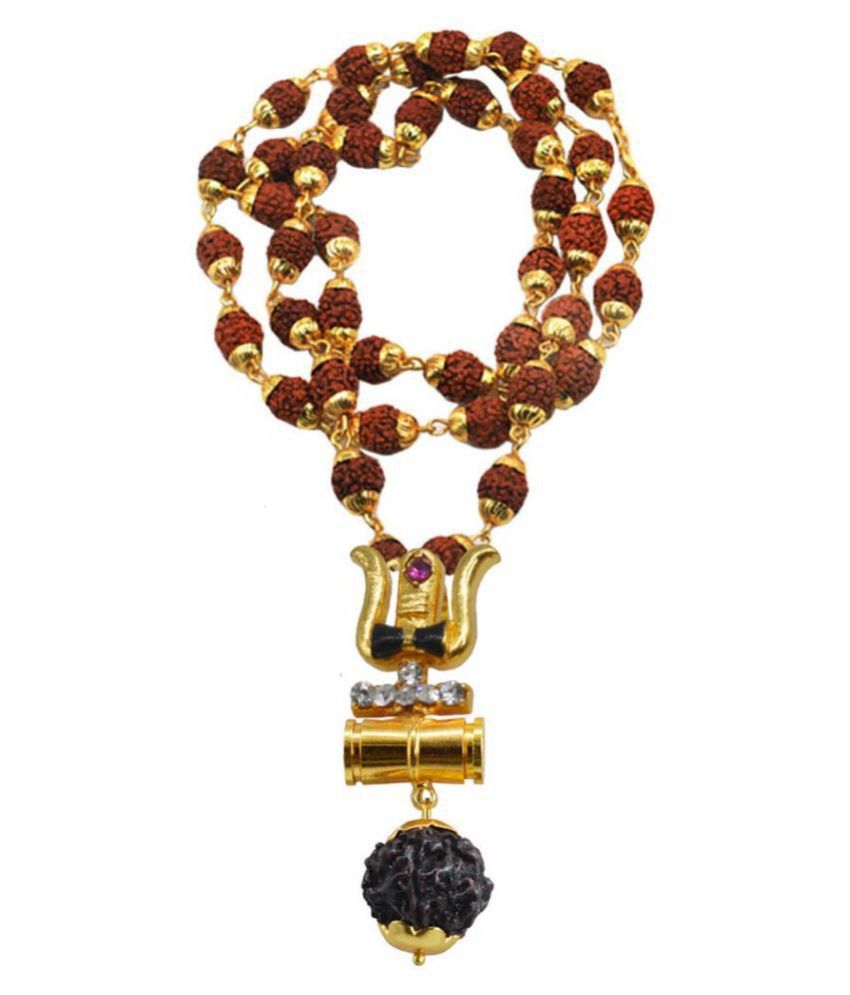 Shiv Jagdamba Religious Jewelry Loard Shiv Trishul Kavach Damaru With Rudhrasha Mala Necklace Pendant
