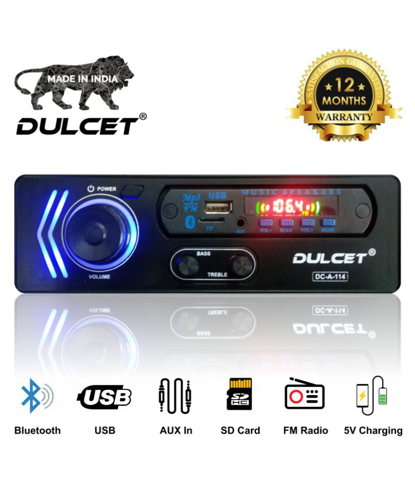 Dulcet DC-A-114 Double IC High Power Universal Fit Mp3 Car Stereo with Bluetooth/USB/FM/AUX/MMC/Remote & Built-in Equalizer with Bass & Treble Control [Also, Includes a Free 3.5mm Aux Cable]