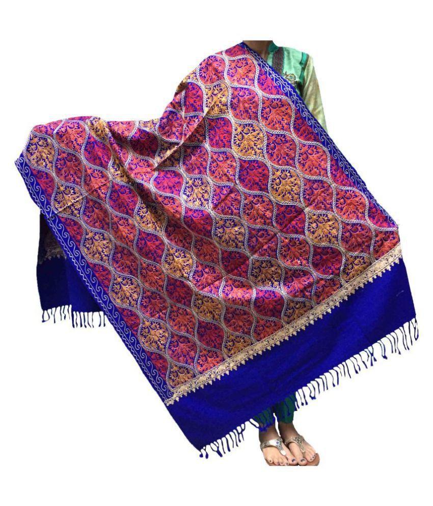 KASHMIRI Blue Ari Embroidery Shawl