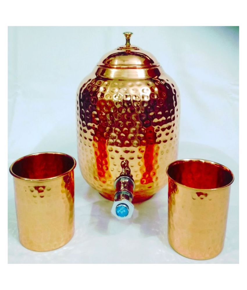 Ornate Copper Water Container Set of 3 3000 mL