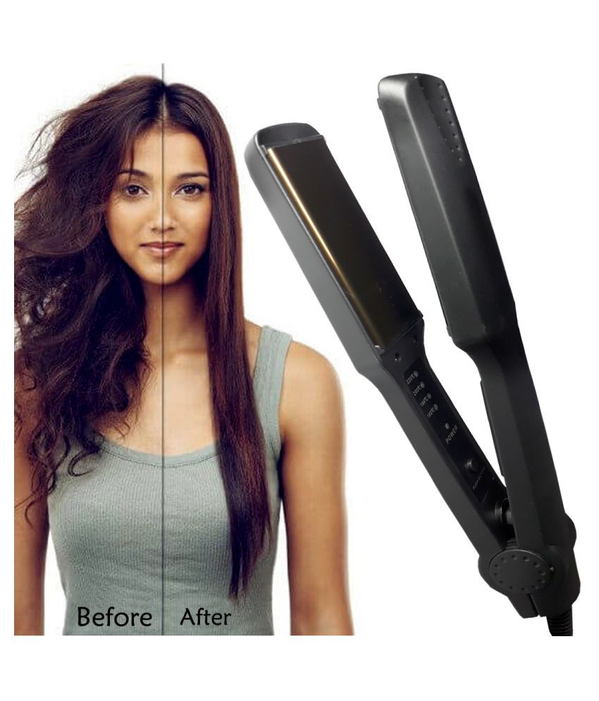 FS Slik Smooth Care Professional Ceramic Anti-Static Hair Styling Flat Hair Iron 45W Travel Friendly Hair Straightener ( Black )