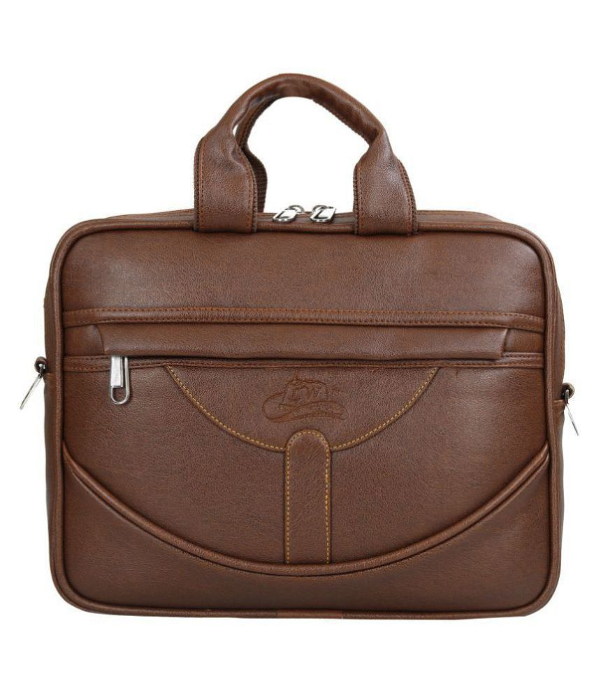Leather World Tan P.U. 16 Ltrs Office Bag