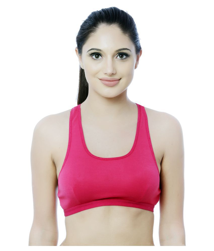 Nutex Sangini Pink Cotton Solid Sports Bra