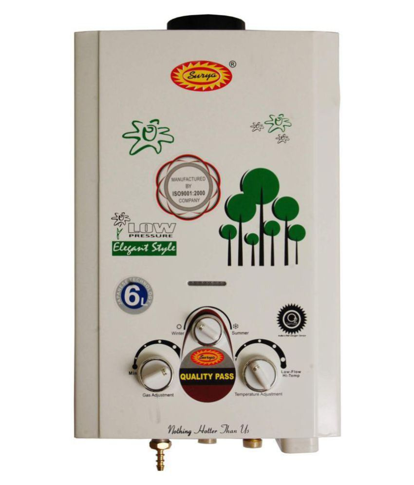 Surya. 6 Ltr JSD-12-20-04-LPG Instant - Geysers White