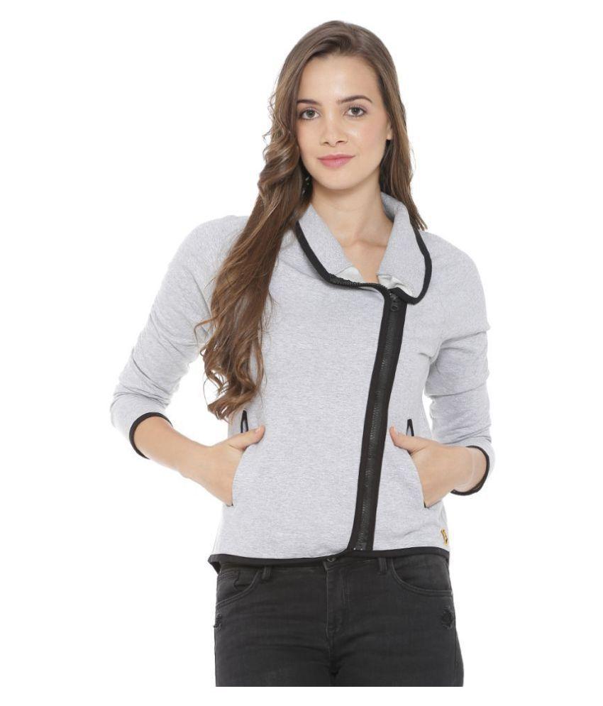 Campus Sutra Cotton Grey Zippered Sweatshirt