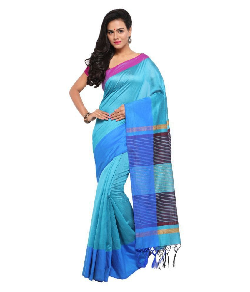 SHIVGAMI Blue Cotton Silk Saree