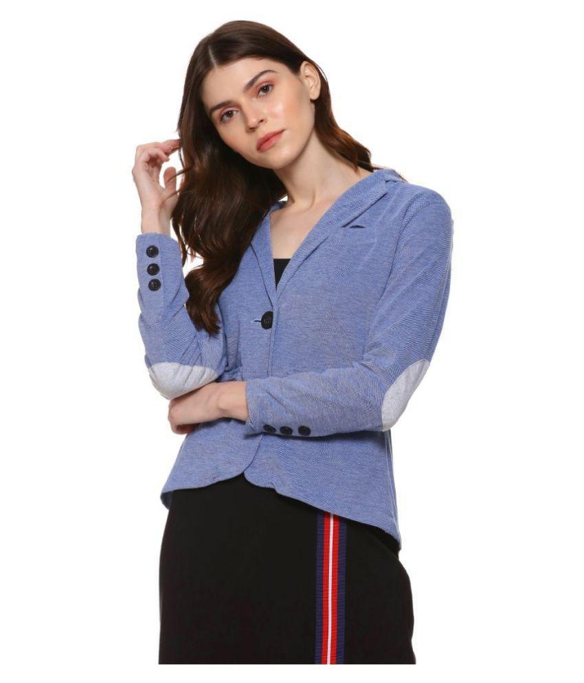 Campus Sutra Cotton Blend Blue Blazers