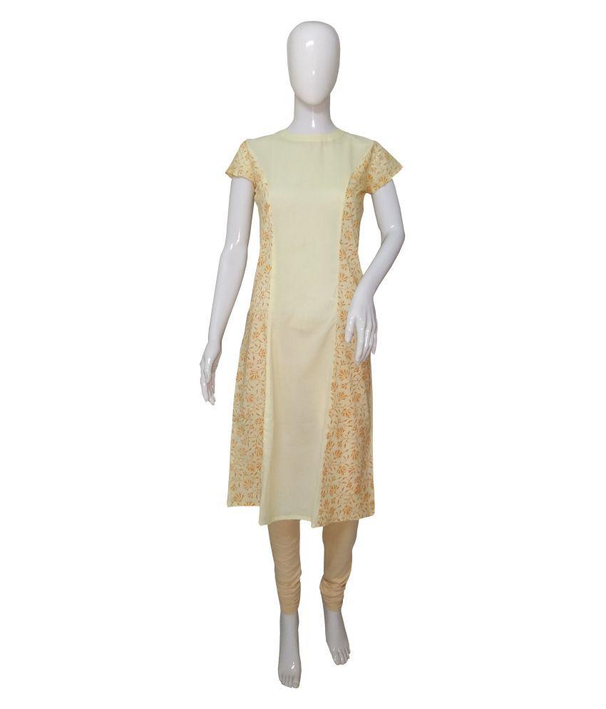 Indo Mood Cotton Yellow A- line Dress
