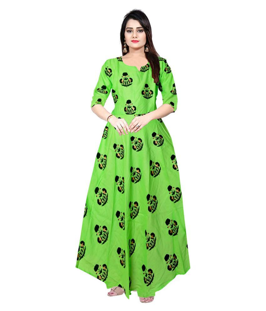 JWF Rayon Green Fit And Flare Dress