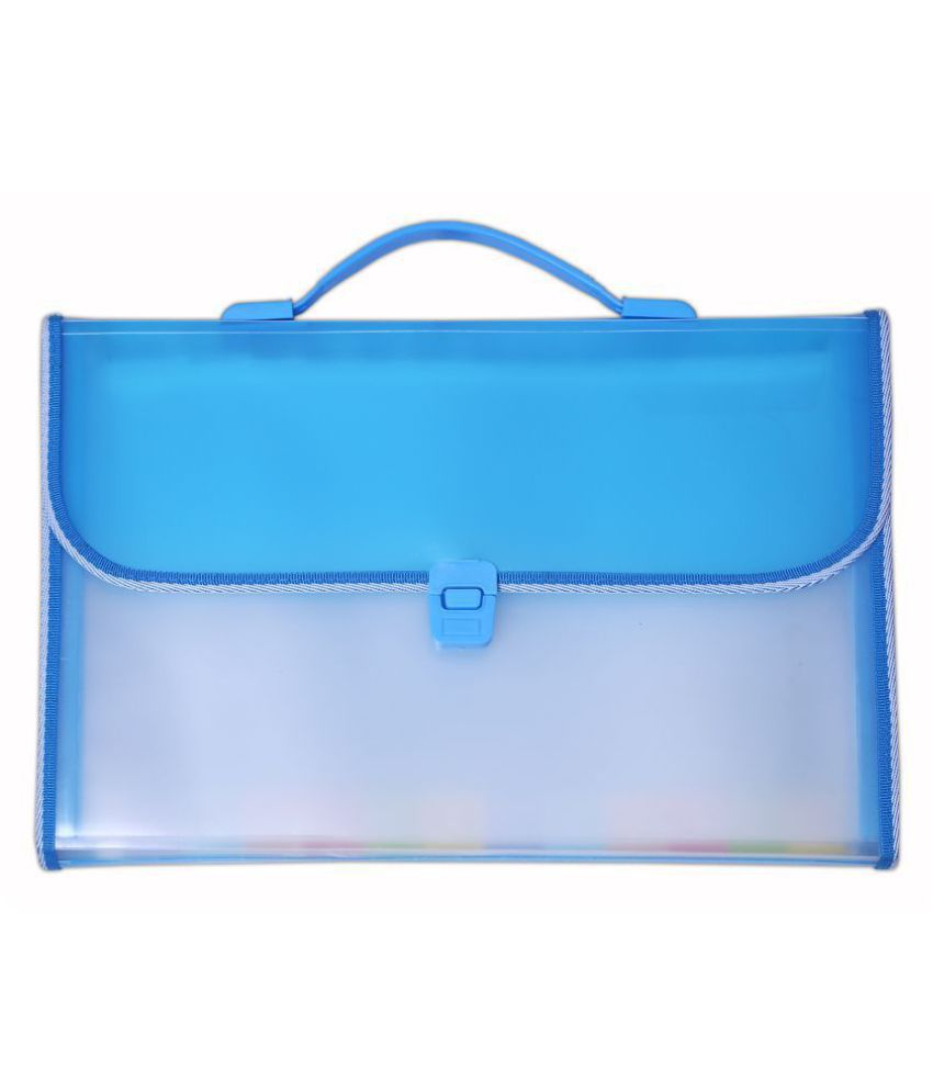 SUMO PRIME Expanding Case File Folder Briefcase Style with Handle (Ideal for Organizing all sorts of Documents, Papers Certificates for Students and Office use) (Size - F/C) (Color - BLUE)