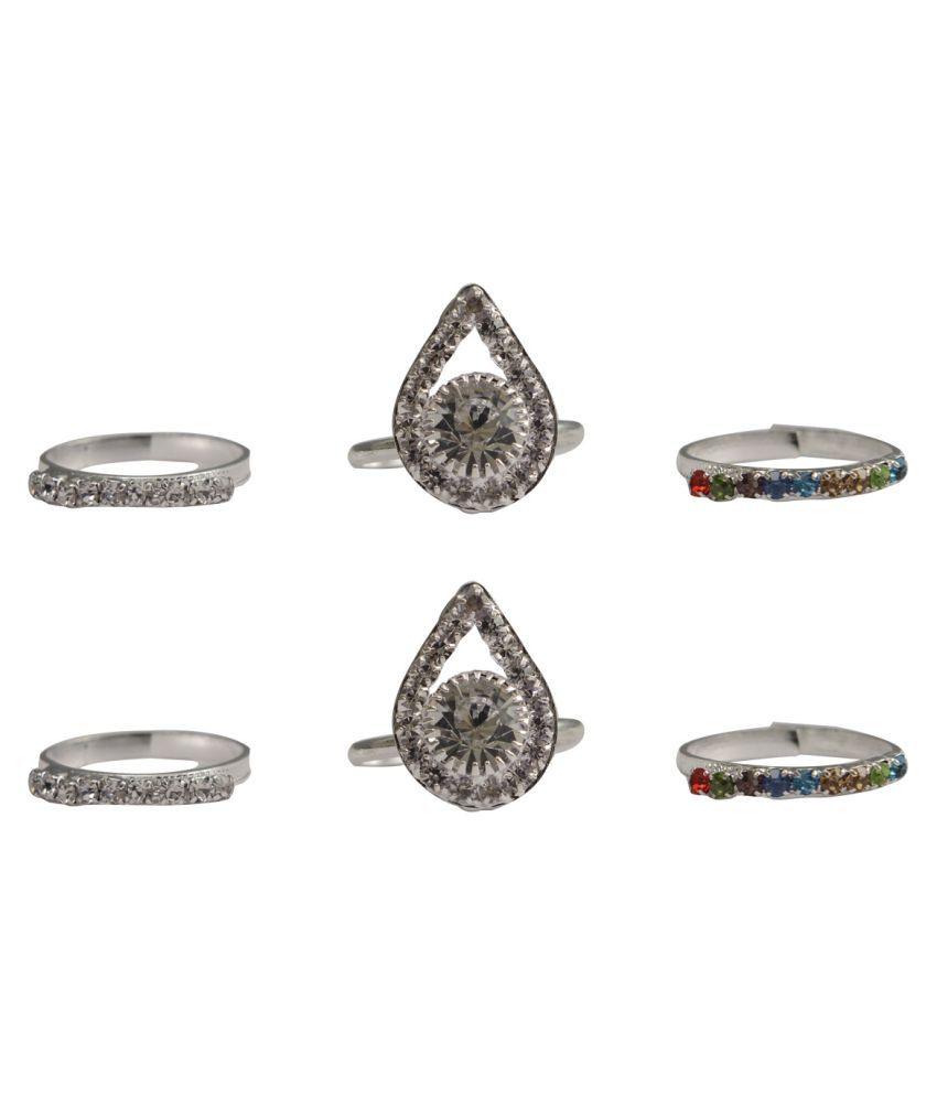 Rabia Taj Pearl 3 Pairs Traditional Toe rings