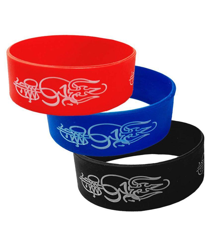 Men Style Om Trishul Damru   Multicolor  Silicon 00 Bracelet For Men And Women