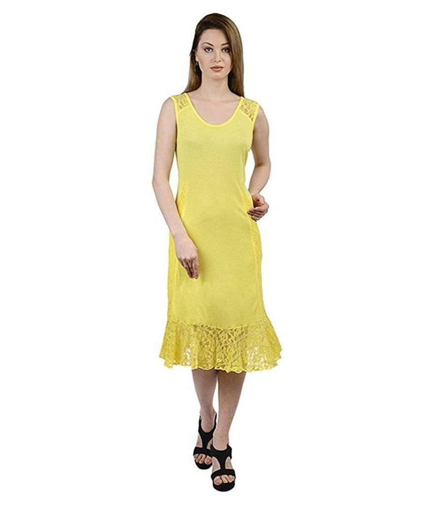 Butterfly Wears Cotton Yellow A- line Dress