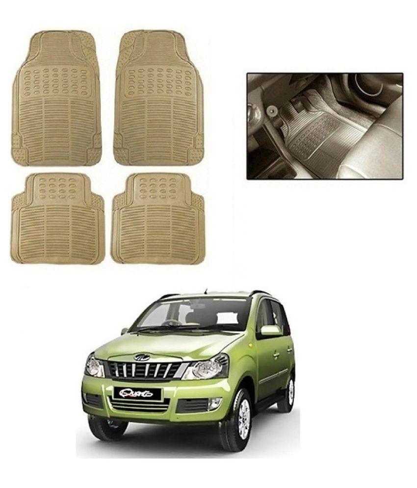 Neeb traders Car Rubber Foot  Mats for Mahindra Quanto (Set of 4, Cream)