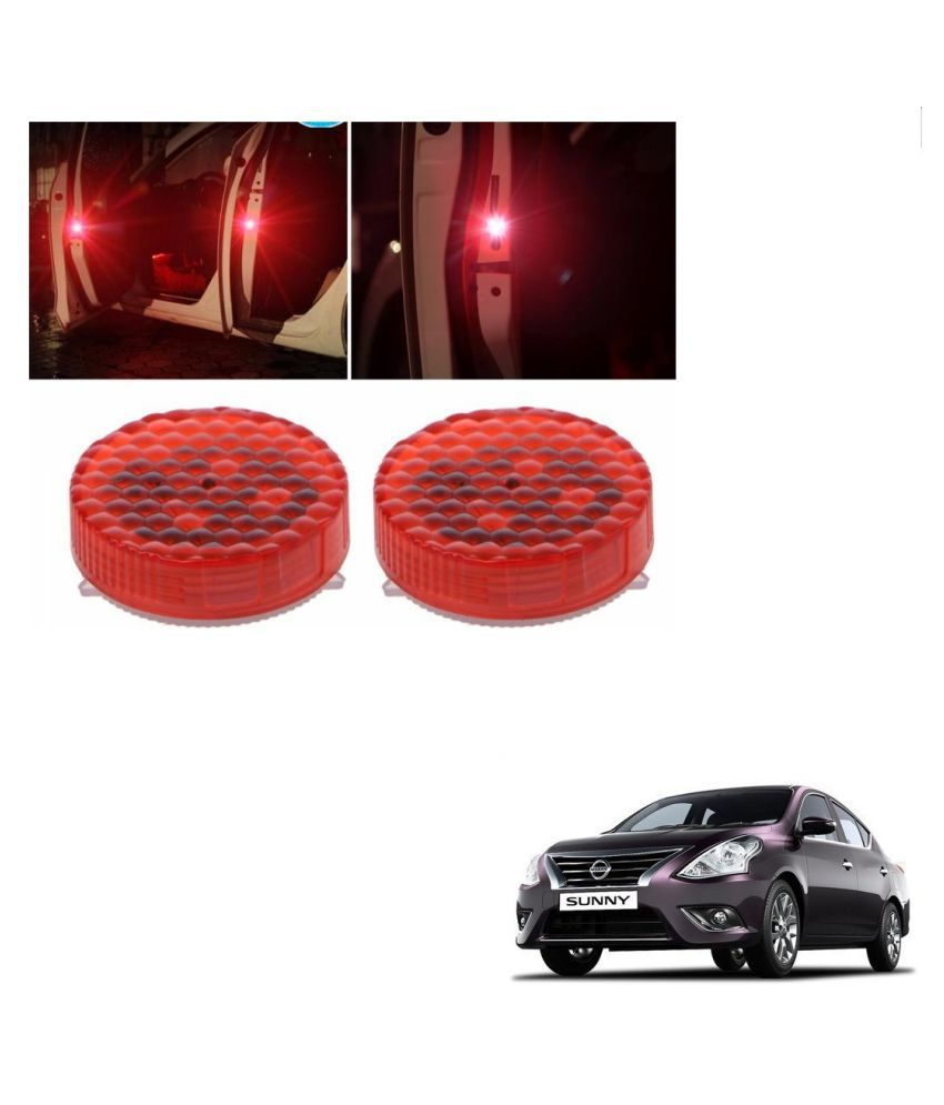 Auto Addict Waterproof 5 LED Wireless Car Door Warning Open Lights Indicator Decor Interior Flash Magnetic car led Lights for Anti Rear-End(RED) Free Batteries (2 Pair 4 pcs) For Nissan Sunny