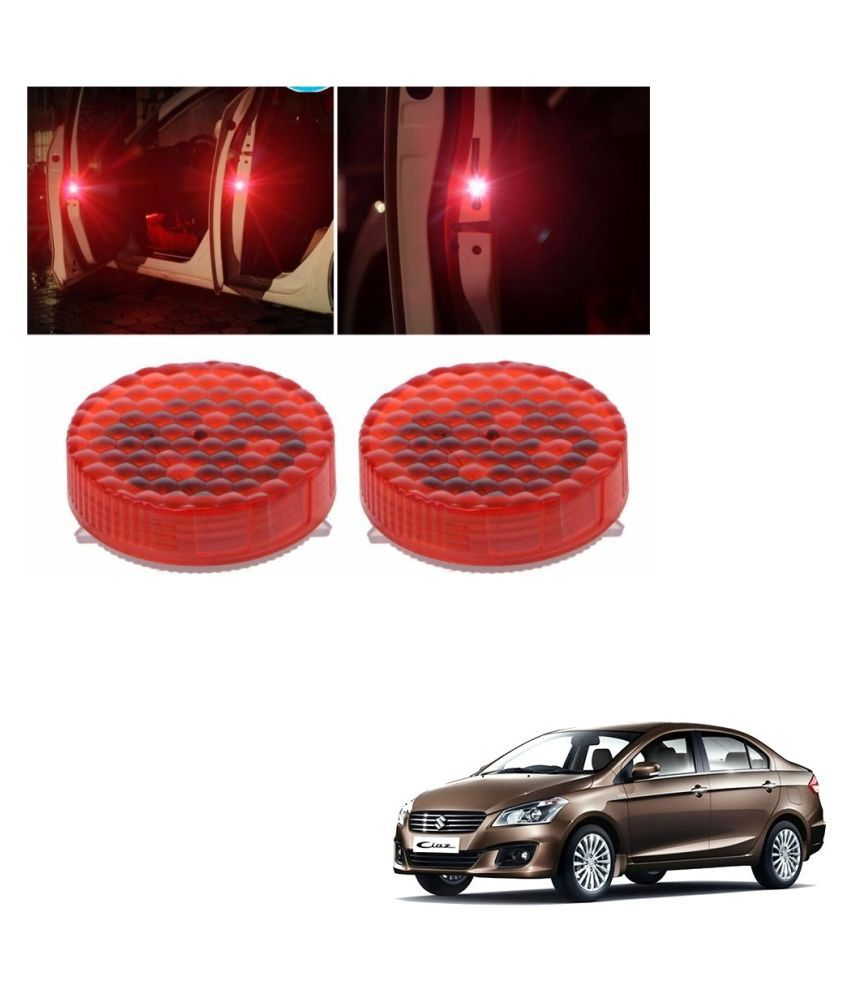 Auto Addict Waterproof 5 LED Wireless Car Door Warning Open Lights Indicator Decor Interior Flash Magnetic car led Lights for Anti Rear-End(RED) Free Batteries (2 Pair 4 pcs) For Maruti Suzuki Ciaz