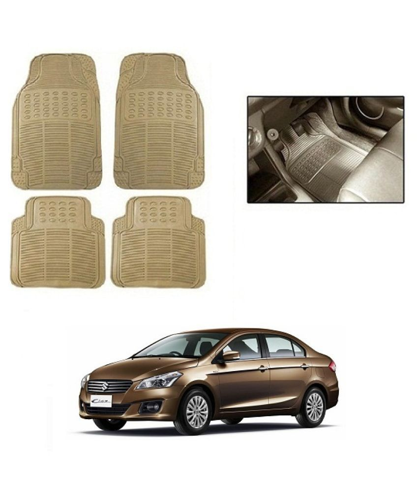 Neeb traders Car Rubber Foot  Mats for Maruti Suzuki Ciaz (Set of 4, Cream)