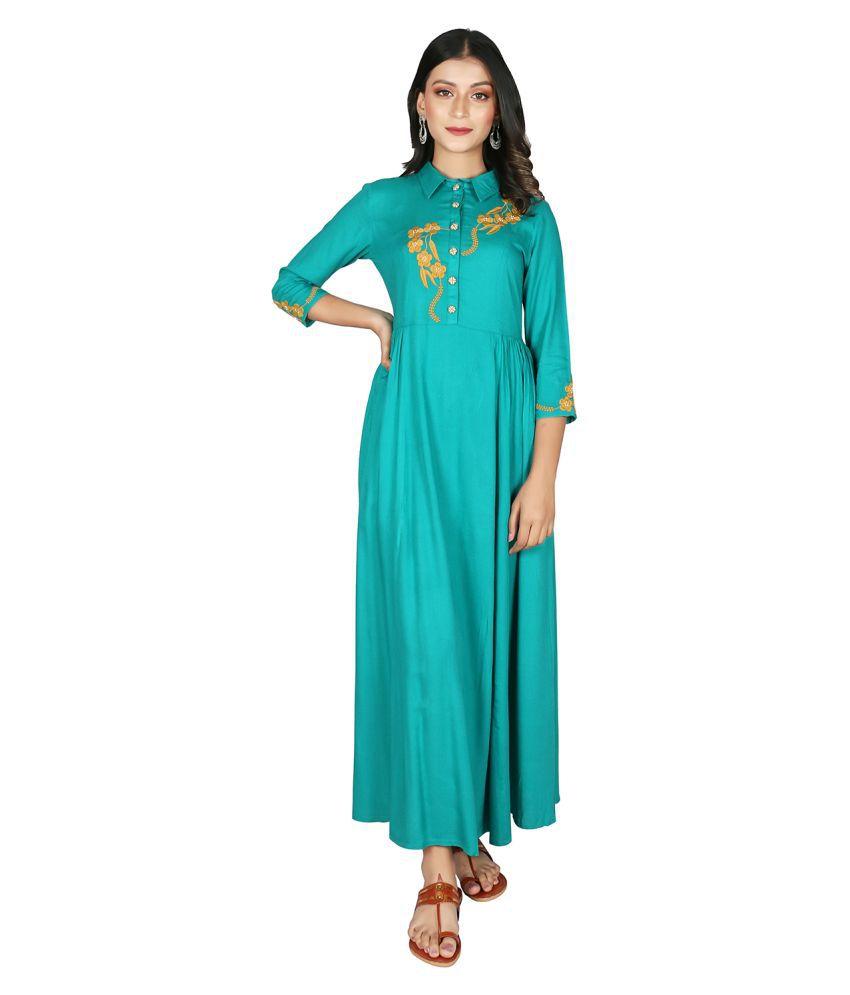 fabGlobal Rayon Blue A- line Dress