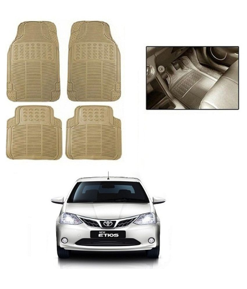 Neeb traders Car Rubber Foot  Mats for  Toyota Etios New (Set of 4, Cream)