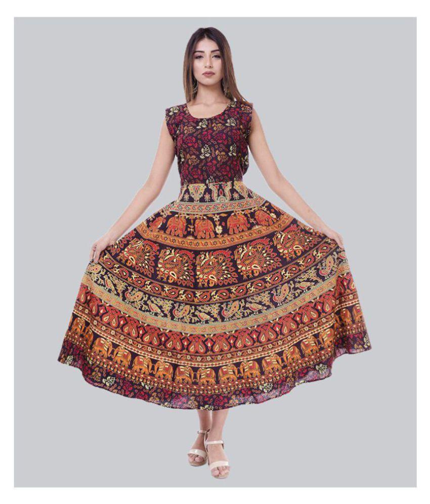 Rangun Cotton Maroon A- line Dress