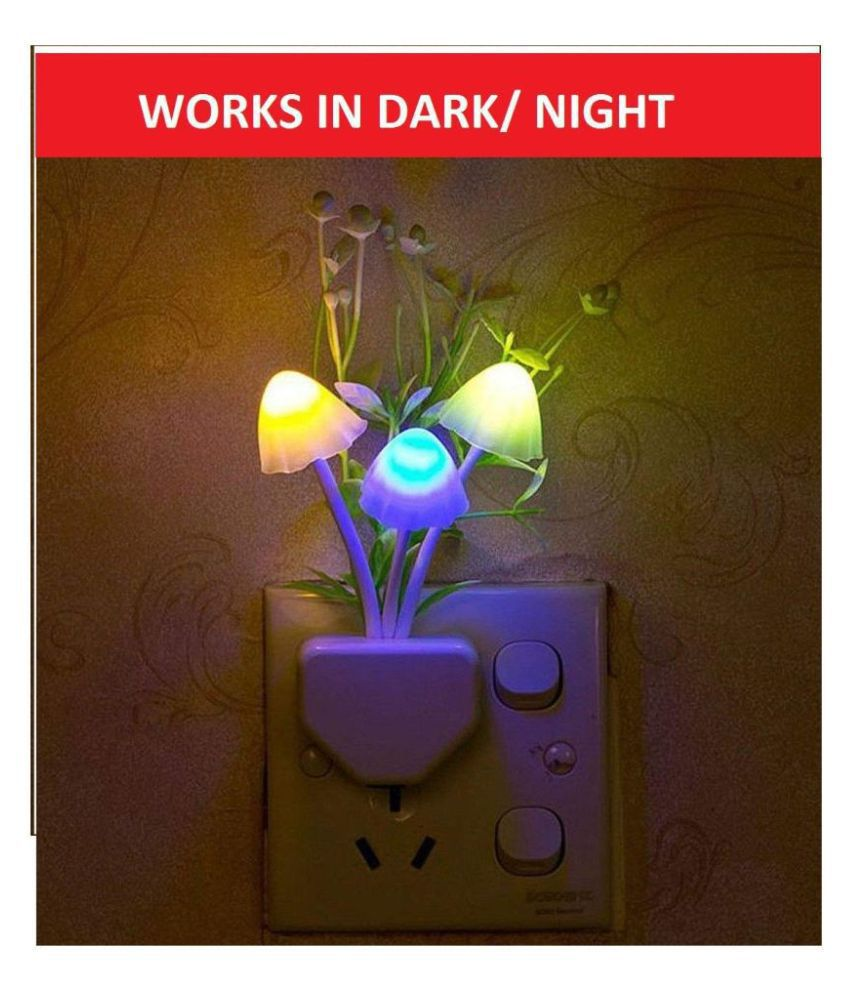 Euros Fancy Mushroom Shape Automatic Sensor LED Color Changing Light Night Lamp Multi - Pack of 1
