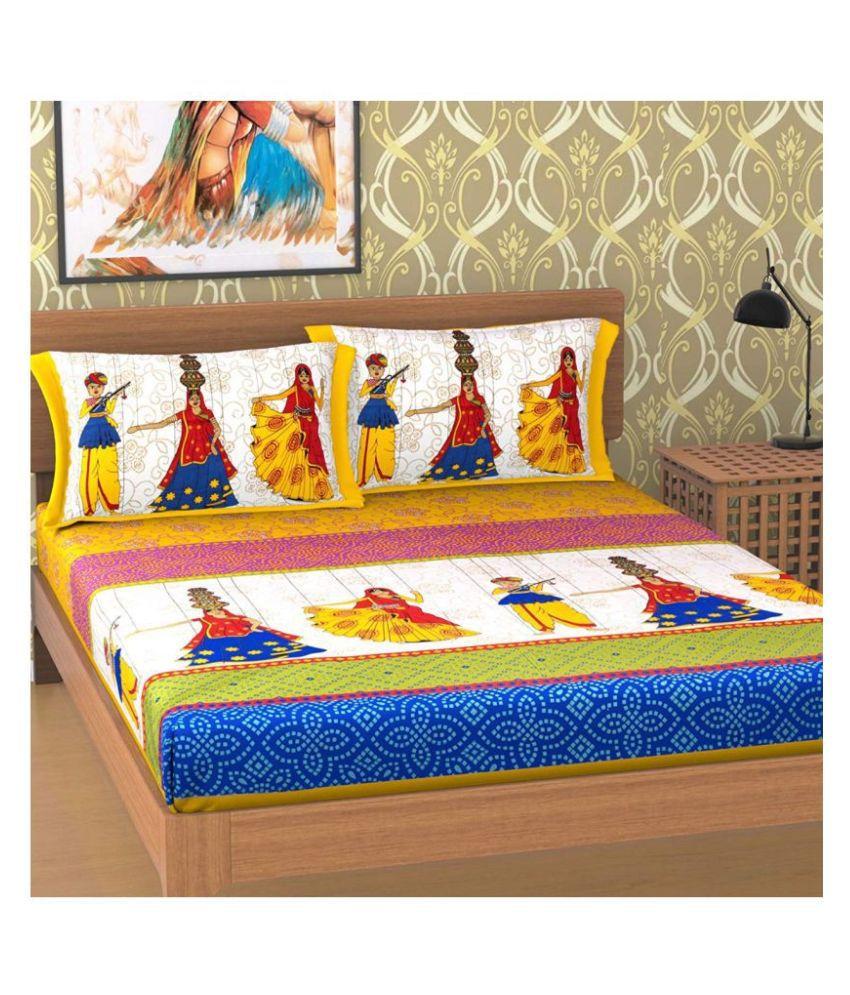 Kanha Enterprises Cotton Double Bedsheet with 2 Pillow Covers