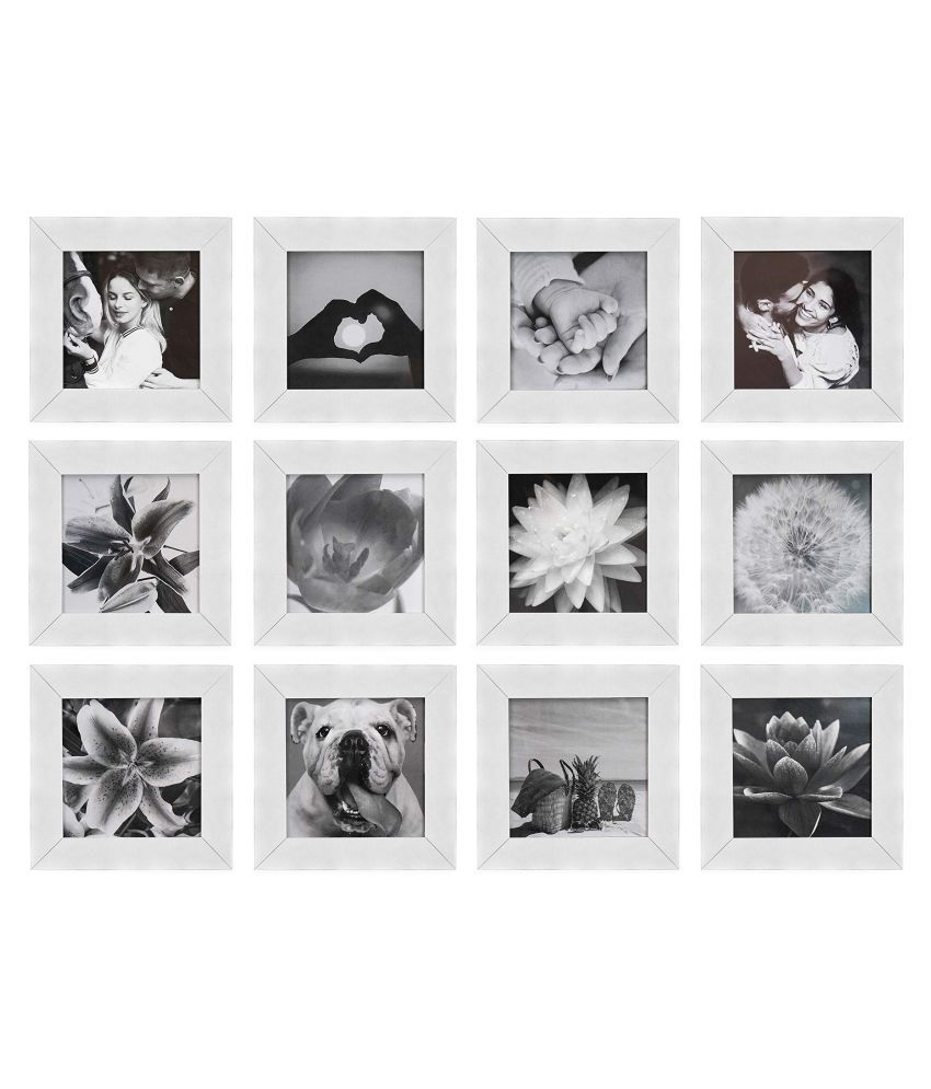 Framebuzz Plastic Wall Hanging White Photo Frame Sets - Pack of 12