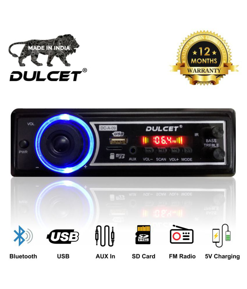Dulcet DC-A-09 Double IC High Power Universal Fit Mp3 Car Stereo with Bluetooth/USB/FM/AUX/MMC/Remote and Built-in Equalizer with Bass & Treble Control [Also, Includes a Free 3.5mm Aux Cable-Car Music System