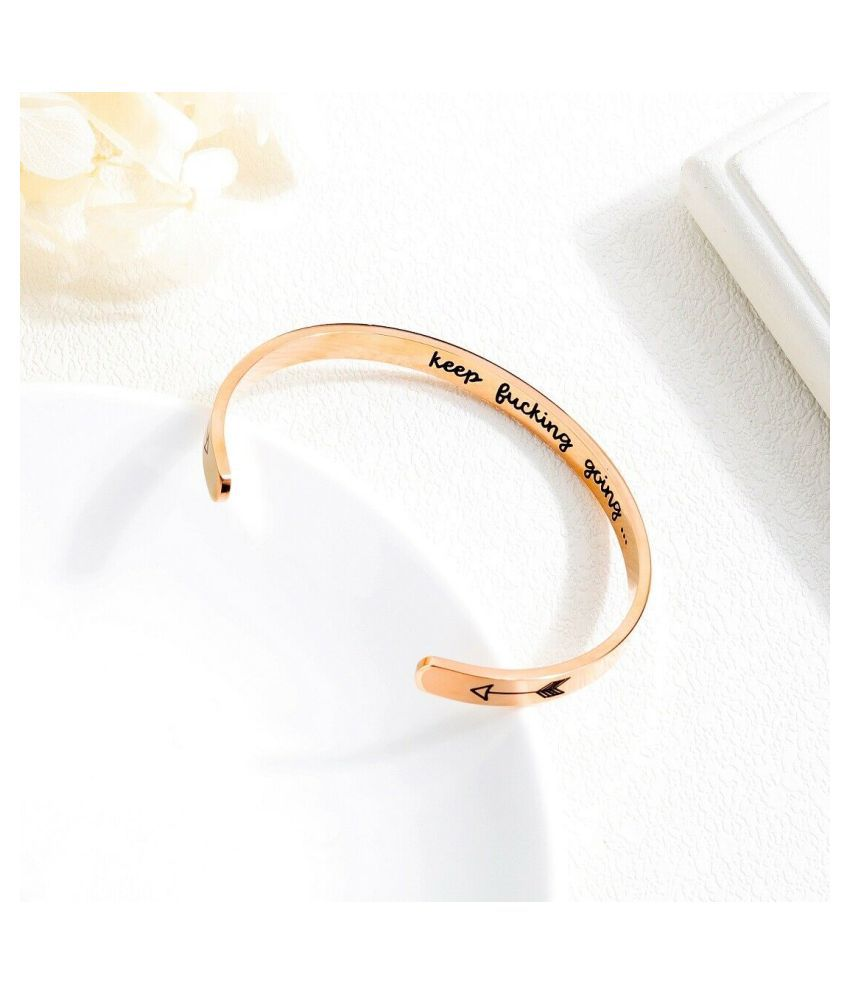 Haapy Stoning Stainless Steel Bracelet with Inspirational Message engraved - High Quality & Mirror looked