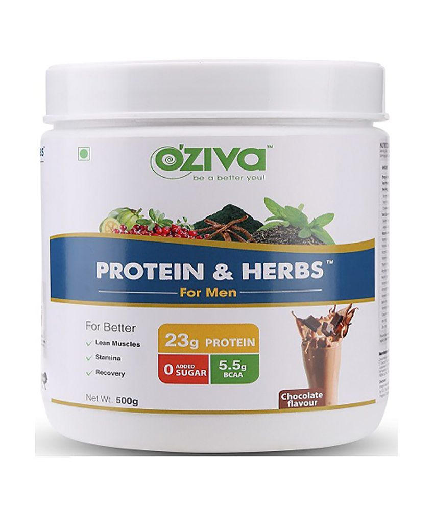 OZiva Protein & Herbs for Men, 500 gm (Chocolate Flavor)