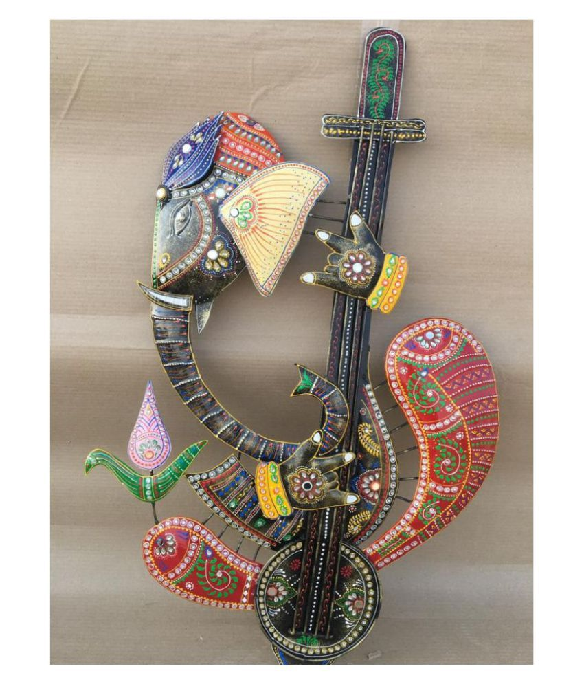 Wall Hanging Iron ANITHA DECORS FACED GUITAR GANESHA Wall Sculpture Assorted - Pack of 1