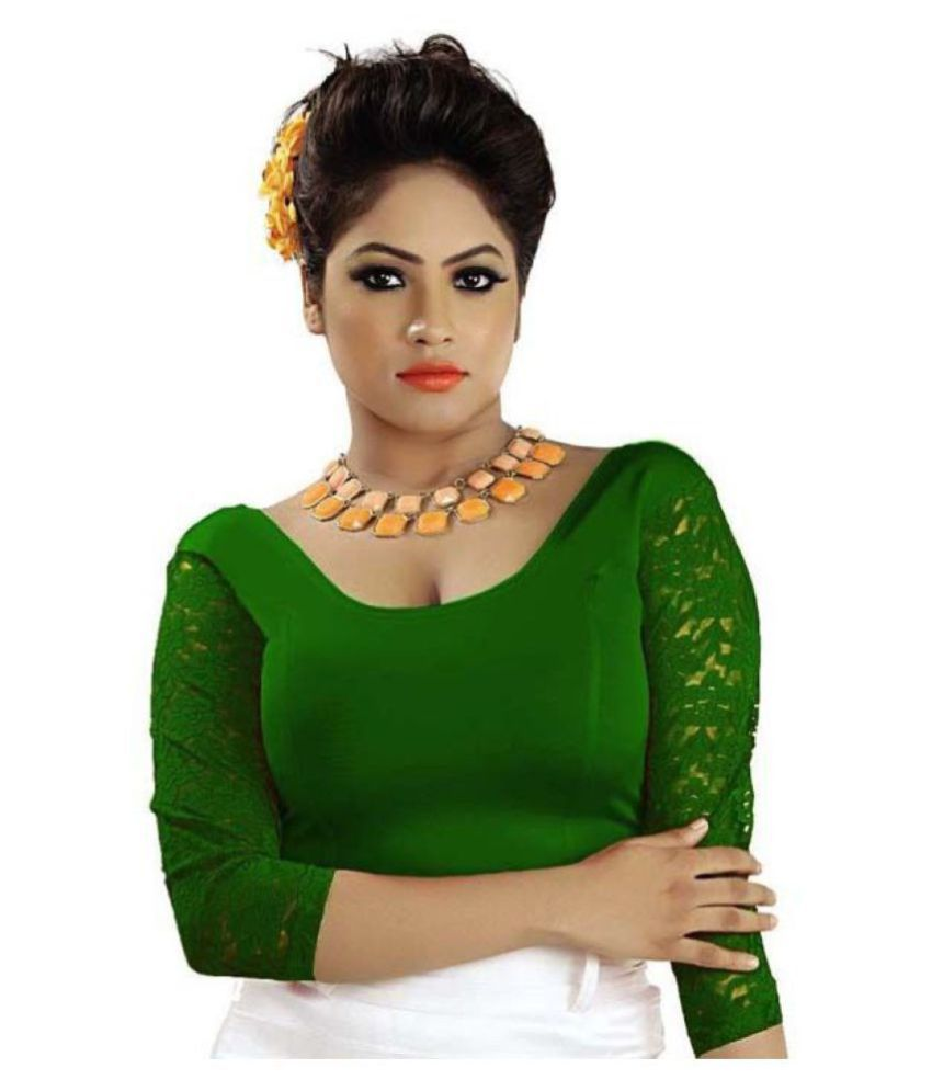 ABHI Green Net Readymade without Pad Blouse
