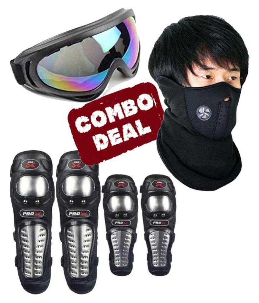 Biker Protective Gear Combo of Pro X Elbow Knee Guard Neoprene & Goggle