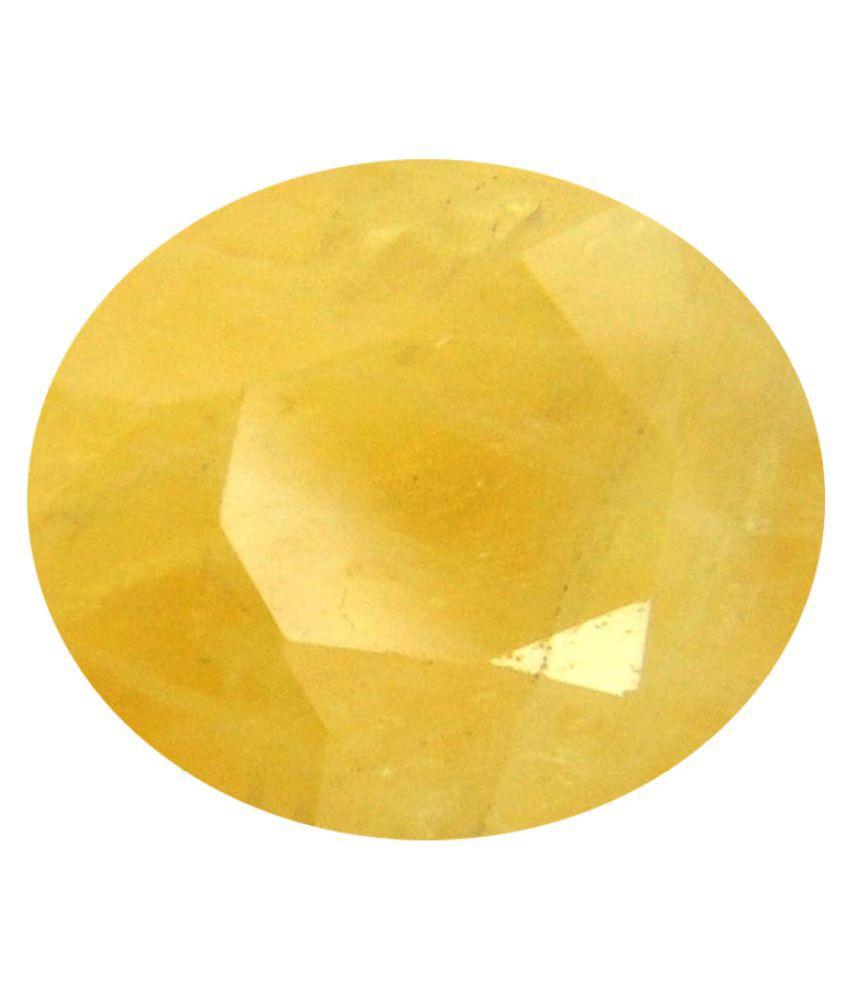 Tejvij And Sons 3.25 -Ratti Self certified Yellow Sapphire Precious Gemstone