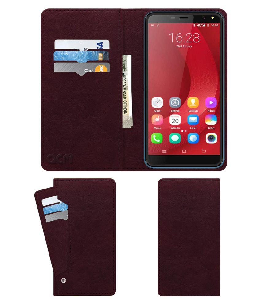IKall K4 Flip Cover by ACM - Red Wallet Case,Burgundy Red