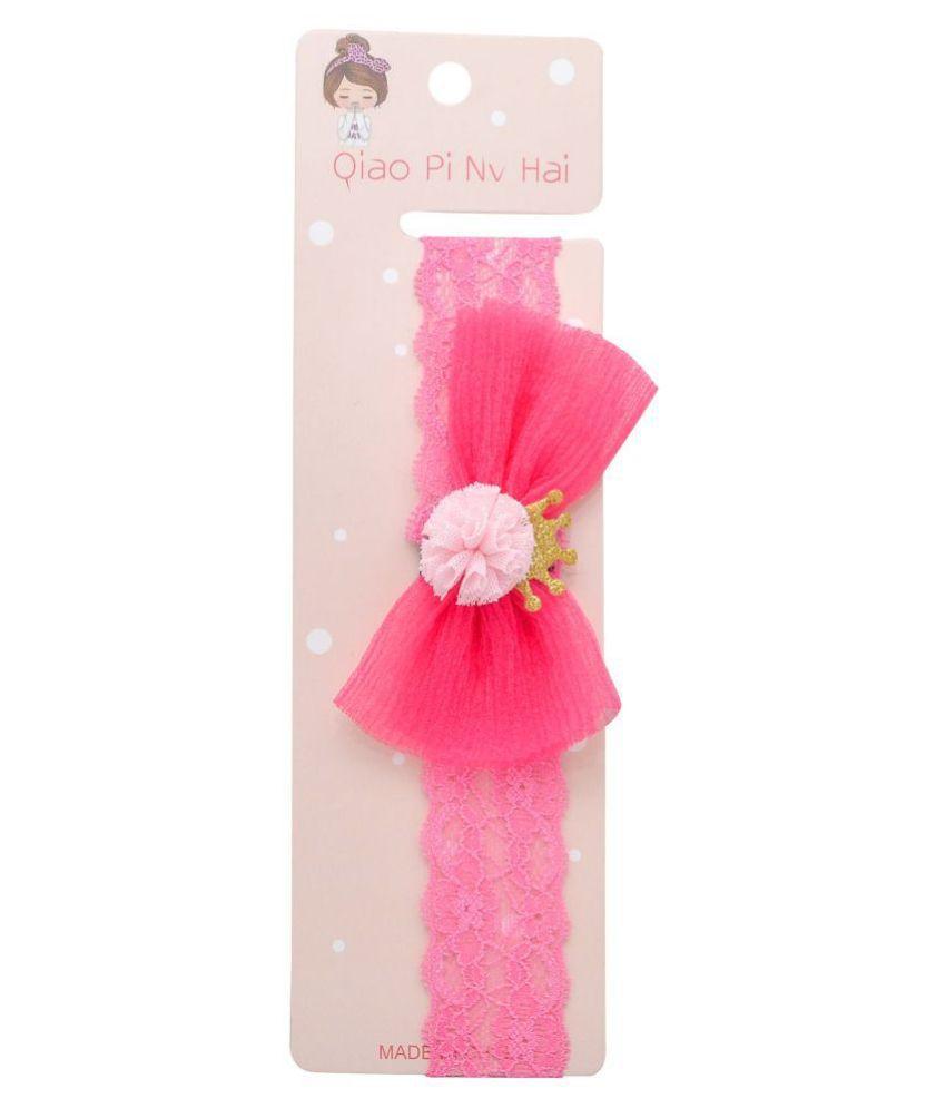 Jewelz pink net headband with baby pink pom pom for kids