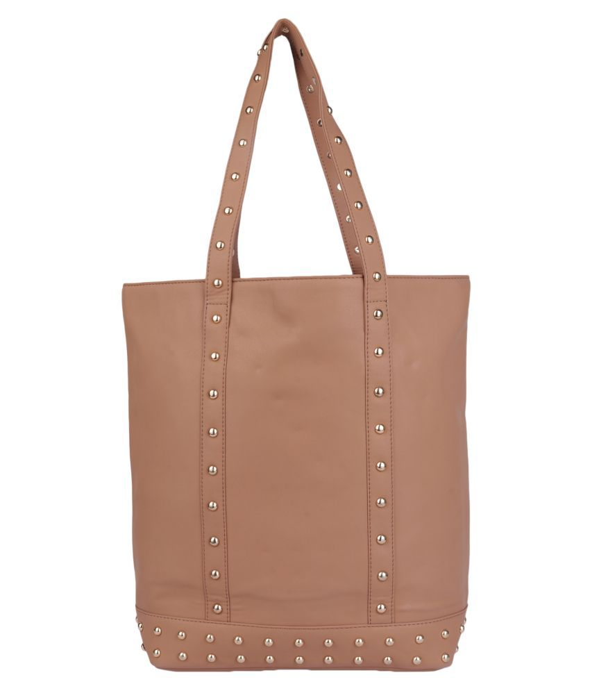 Antin Tan Faux Leather Tote Bag