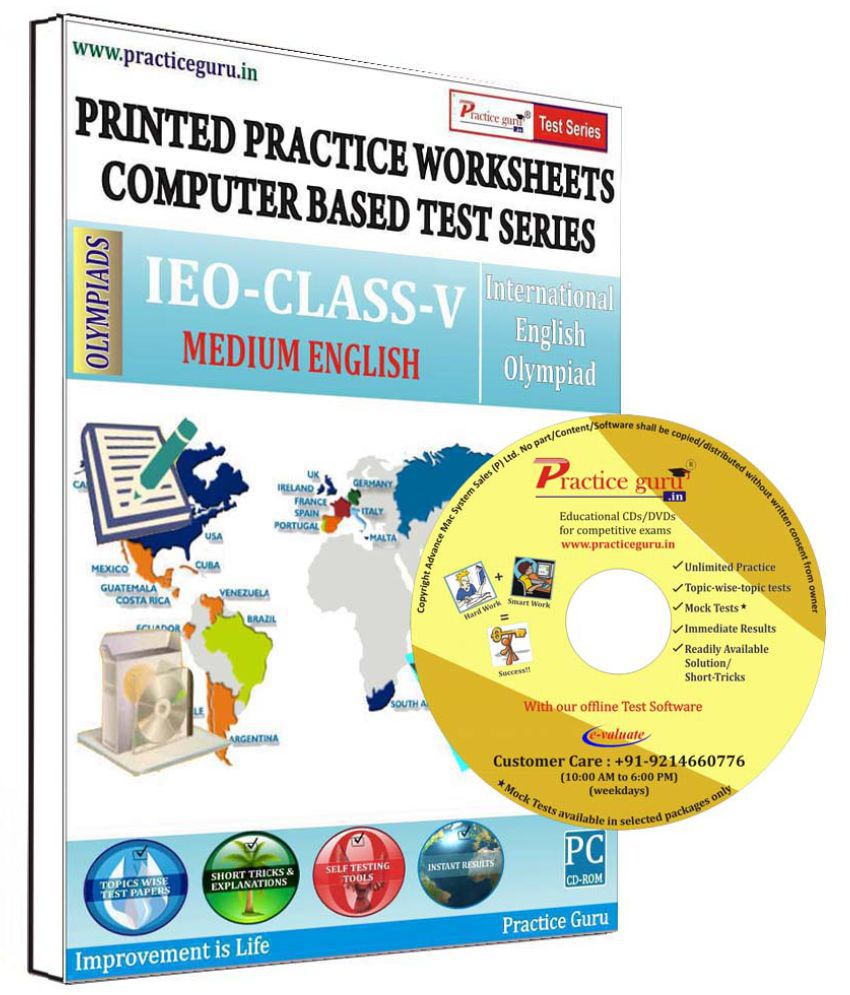 Practice Guru 22 Test 2 Mock Test,10 Previous Year Paper,10 Worksheet (Printed) for 5 Class IEO Exam  CD